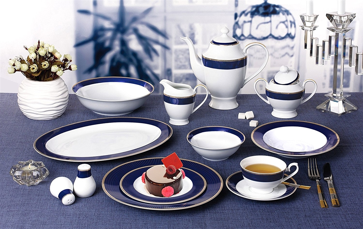 57 Piece \u0027Midnight\u0027 Bone China Dinnerware Set (Service for 8 People) Blue & Piece \u0027Midnight\u0027 Bone China Dinnerware Set (Service for 8 People) Blue