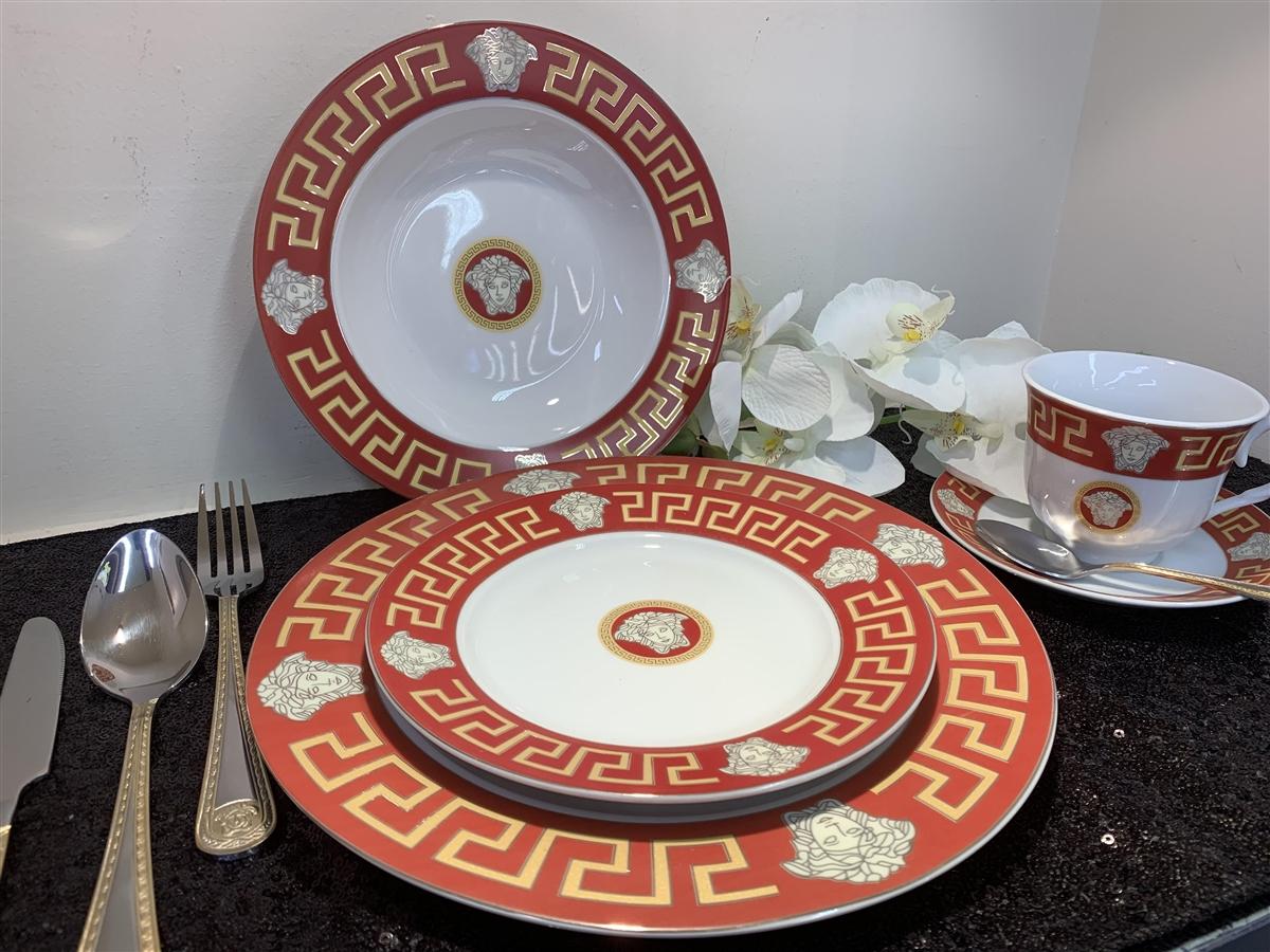 sc 1 st  C u0026 L Fine Gifts & 49 PCS DINNER SET Red Greek DESIGN