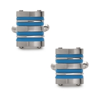 Stainless Steel Blue Rubber Striped Cuff Links