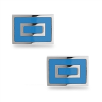 Stainless Steel Blue Square Cuff Links
