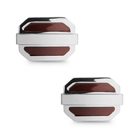 Stainless Steel Orange Oval Cuff Links
