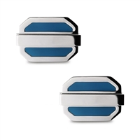 Stainless Steel Blue Oval Cuff Links