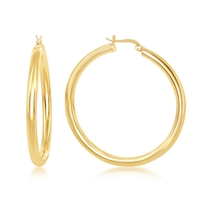 Sterling Silver 4x50mm High-Polished Hoop Earrings - Gold Plated