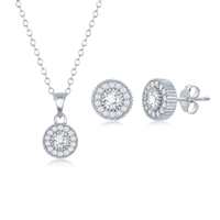 Sterling Silver CZ Halo Necklace and Earrings Set