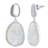 Sterling Silver Shiny Oval Disc and Mother of Pearl Earrings