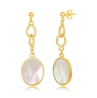 Sterling Silver Garnet and Mother of Pearl Earrings - Gold Plated