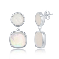 Sterling Silver Round and Square Mother of Pearl Earrings