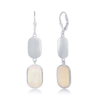 Sterling Silver Polsihed and White Mother of Pearl Earrings