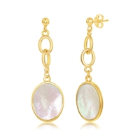 Sterling Silver Linked Chain Oval Mother of Pearl Dangling Earrings - Gold Plated