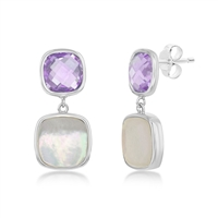 Sterling Silver Double Square Amethyst and Mother of Pearl Earrings
