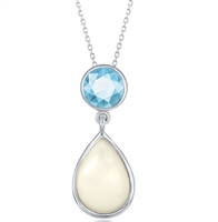 Sterling Silver Blue Topaz with Mother of Pearl Pendant