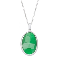 Sterling Silver Grass Green Oval Cat's Eye Necklace