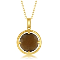 Sterling Silver Gold-Plated Round Coffee Cat's Eye Necklace