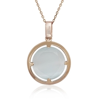 Sterling Silver Rose-Plated Light Blue Round Cat's Eye Necklace