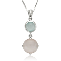 Sterling Silver Blue and Pink Cat's Eye Necklace