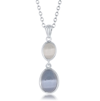 Sterling Silver Blue and Grey Oval Cat's Eye Necklace