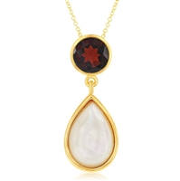 Sterling Silver Garnet with Mother of Pearl Pendant - Gold Plated