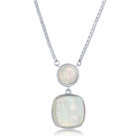 Sterling Silver Round and Square Mother of Pearl Necklace