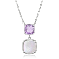 Sterling Silver Double Square Amethyst and Mother of Pearl Necklace