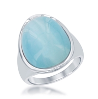 Sterling Silver Aqua Oval Cat's Eye Ring