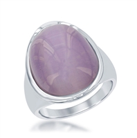 Sterling Silver Light Violet Oval Cat's Eye Ring