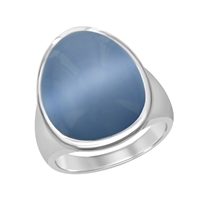 Sterling Silver Denim Blue Oval Cat's Eye Ring