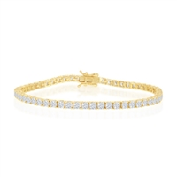 Sterling Silver 3mm Prong-Set Round CZ Tennis Bracelet - Gold Plated