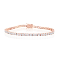 Sterling Silver 7.5'' 3mm Prong-Set Round CZ Tennis Bracelet - Rose Gold Plated