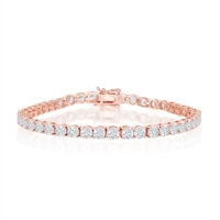 Sterling Silver 4mm Prong-Set Round CZ Tennis Bracelet - Rose Gold Plated