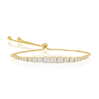Sterling Silver Round Graduating CZ Bolo Tennis Bracelet - Gold Plated