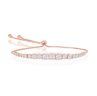 Sterling Silver Round Graduating CZ Bolo Tennis Bracelet - Rose Gold Plated