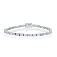 Sterling Silver Micro Pave Double Row Link Bracelet