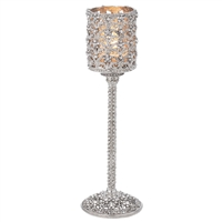 SILVER CRYSTAL SINCLAIR TEALIGHT LAMP - MED