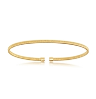 Sterling Silver Wire Designer Bangle, Bonded with 14K Gold Plating
