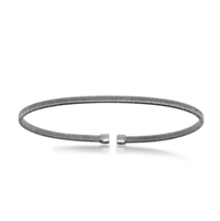 Sterling Silver Black Rhodium Wire Designer Bangle