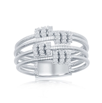 Sterling Silver Designer Ring, Set with CZ, Bonded with Platinium, MADE IN ITALY