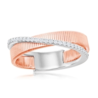 Sterling Silver Designer Ring, Set with CZ, Bonded with Platinium with 14K Rose Gold, MADE IN ITALY
