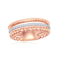 Sterling Silver Designer Ring, Set with CZ, Bonded with 14K Rose Gold, MADE IN ITALY