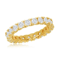 Sterling Silver 3mm CZ Eternity Band Ring - Gold Plated