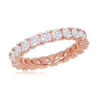 Sterling Silver 3mm CZ Eternity Band Ring - Rose Gold Plated