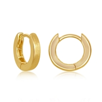 Sterling Silver 3x13mm Huggie Hoop Earrings - Brushed Gold Plated