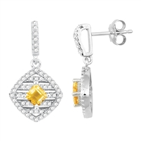 Bellissima Sterling Silver Square Step Citrine Earrings