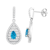 Bellissima Sterling Silver Pear Swiss Blue Topaz Earrings