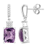 Bellissima Sterling Silver Octagon Amethyst Earrings