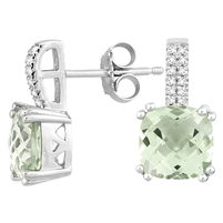 Bellissima Sterling Silver Cushion Green Amethyst Earrings