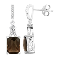 Bellissima Sterling Silver Ocatgon Smoky Quartz Earrings