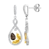 Bellissima Sterling Silver Marquise Citrine and Pear Smoky Quartz Earrings