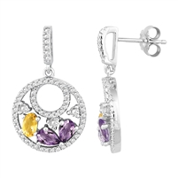 Bellissima Sterling Silver Pear Amethyst and Oval Citrine Earrings