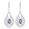 Bellissima Sterling Silver Oval Amethyst Earrings