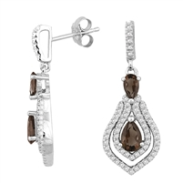 Bellissima Sterling Silver Double Pear Smoky Quartz Earrings